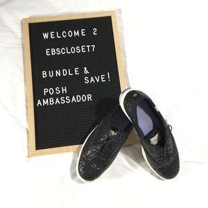 🆕 Kate Spade KEDS Glitter Black Sneakers Shoes